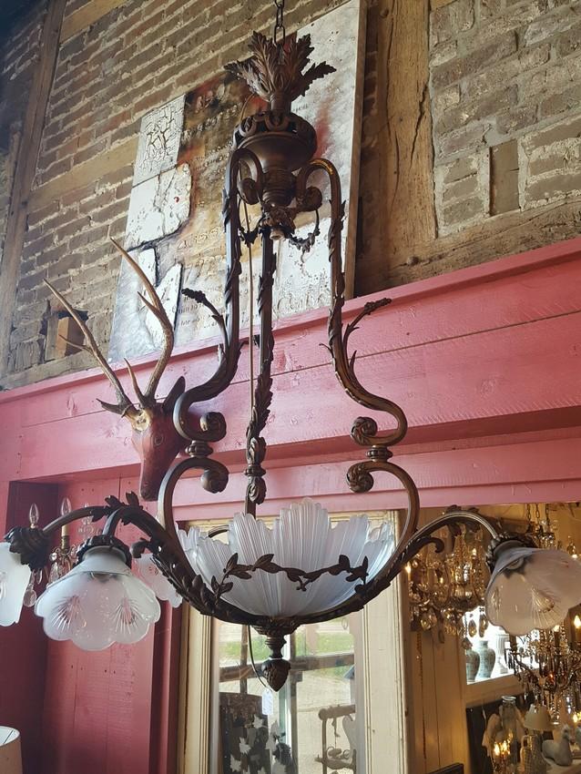 Fraaie hanglamp met 6 kelken en glazen coupe